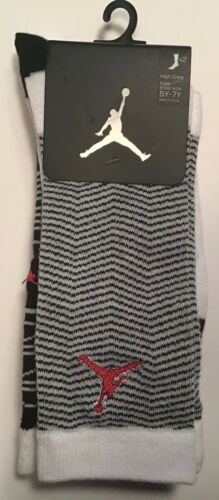 2 Pairs Nike JumpMan Jordan high crew Socks $14 Size 5Y-7y Youth White Black