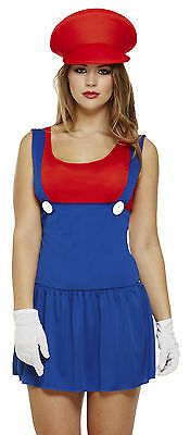 Ladies Mario Fancy Dress Costume Outfit Girls Lady Workman Plumber Size - Girls Mario Kostüm