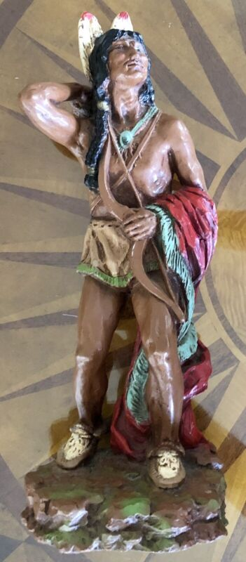 """Vintage 15"""" Native American Indian Hand Painted Warrior Statue 1978 Universal"""
