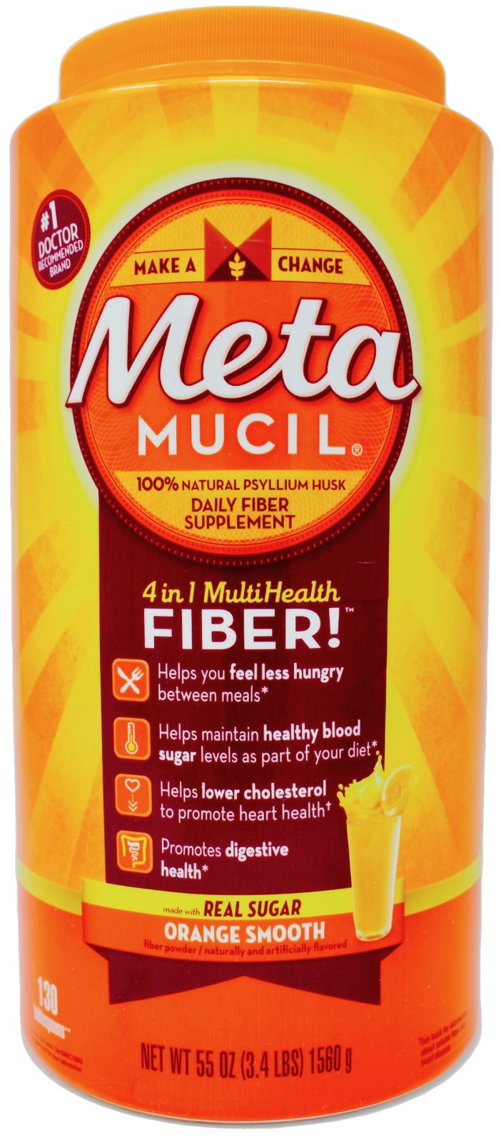 Metamucil Fiber Supplement 100% Psyllium Husk Orange Flavor, 130 or 260 Doses