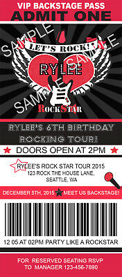 Rock Star Birthday Invitations (ROCK STAR TICKET Birthday Party Invitations RED Custom Personalized +)