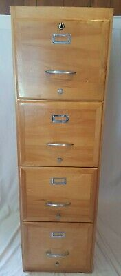 Very Nice Vintage Vertical Wood File Cabinet 4 Drawer Lockable With Key