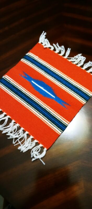 """Handcrafted Red Southwestern Chimayo Weaving Textile Placemat 10""""x10"""" New Mexico"""