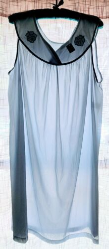 Vintage ARISTOCRAT by SUPERIOR NIGHTY Blue APPLIQUED Satin Piped Nylon New XXL
