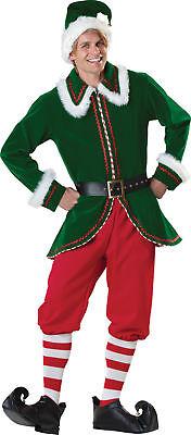 Santa's Elfen Erwachsene Herren Kostüm Geflockt samt Jacke ()