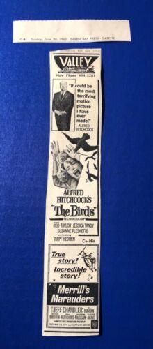 "1963 Alfred Hitchcock's ""The Birds""/""Merrill's Marauders"" movie print ad 9.5x2"""