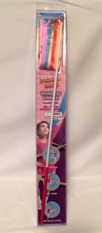 Fashion Girls Rainbow dance twirling 13ft ribbon with stick/rod NEW