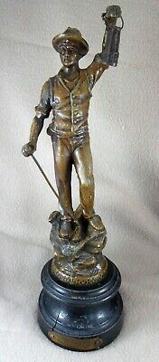 Le Mineur (with miner's lamp) Bronzed Spelter Figurine on Plinth (11.75