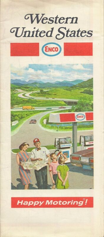 1970 ENCO HUMBLE OIL Road Map WESTERN UNITED STATES California Texas Oregon Utah