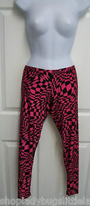 RUNNING-FUNKY-HOT-PINK-BLACK-PSYCHEDELIC-WARPED-CHECKERBOARD-STRETCHY-LEGGINGS-S
