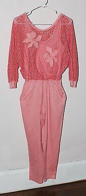 VTG 70s 80s Medium Flamingo Pink Floral Jersey Mesh Jumpsuit Romper