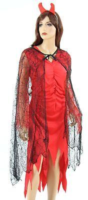 Spinnennetz Cape Hexen Kostüm für Damen schwarzer Teufel Gothic Vampir Umhang Ha
