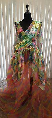 Ethereal Rainbow Garden Fairy Floral Lehenga Saree Sari Bridal Wedding Ballgown  - Fairy Customes