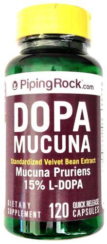 120 Capsules DOPA Mucuna Pruriens 350mg Standardized 15% Velvet Bean Extract L