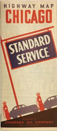 1939 Standard Oil of Indiana Road Map: Chicago NOS