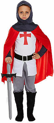 Childs Boys Knight Fancy Dress Childs Dressing Up Costume Ages 4-12 Years New - Costumes 4 U
