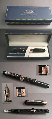 Conklin Crescent Filler Fountain Pen Holder Mark Twain in Black F Feather #