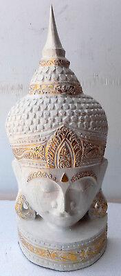 Head of Buddha CM51 wooden INDONESIA Shiva Ganesh divinity sculpture white 2