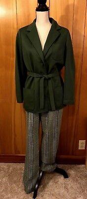 Vintage BUTTE KNIT Pant Suit Womens 2 Piece Green Plaid MOD Union 1970s Sz 12