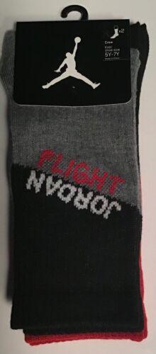 2 Pairs Nike JumpMan Jordan Flight crew Socks $14 Size 5Y-7y Youth Black Red