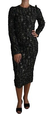 DOLCE & GABBANA Dress Floral Silver Black Long Sleeved Gown IT40/US6/S RRP $2500