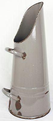 Antique Vintage Gray Enamelware Coal Scuttle or Ash Bucket Metal