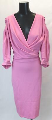 Boohoo Women's Plus Off The Shoulder Wrap Midi Dress GS2 Powder Pink Size US:20