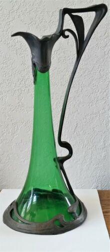 "Vintage ART NOUVEAU WMF Pewter Decanter Pitcher ENCASED GREEN GLASS 14 1/2"""