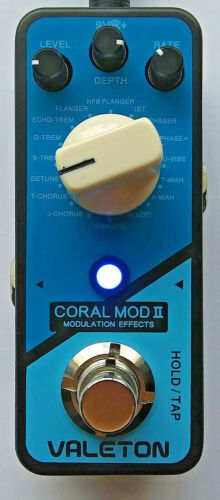 Valeton Coral Mod II Mini Effect Pedal for Guitar, 16 Mod Types, LN Condition.