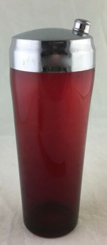 VINTAGE COCKTAIL SHAKER PARTY DRINK MIXER GLASS RUBY RED & CHROME
