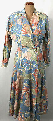 80s Dresses   Casual to Party Dresses VINTAGE 80s wrap dress in muted tone tropical printed COTTON dress 8 $35.95 AT vintagedancer.com
