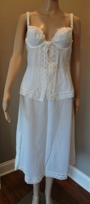 VTG 1960s Accentuate Eyelet Camisole, Slip and Tap Pants Set