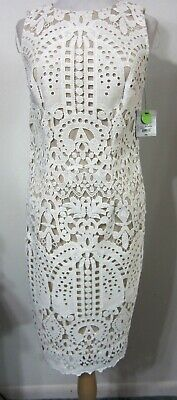 Liz Claiborne 6 Dress Ivory Embroidered LACE over Nude Elegant Classy Chic NWT