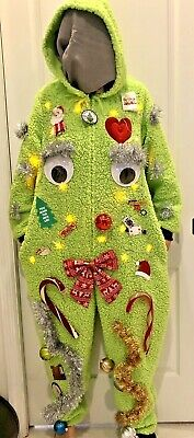 Grinch Ugly Christmas Sweater Suit Winner! Lights Hood Furry XL NEW Furry
