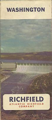 1967 RICHFIELD OIL Road Map WASHINGTON Seattle Olympia Spokane Tacoma Yakima