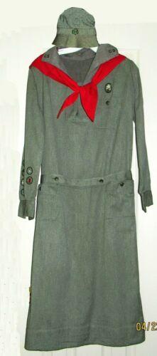 RARE Beauty-Girl Scout UNIFORM 1928, Hat Belt Scarf Badges Excellent Collectors