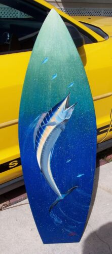 Wahoo original Surfboard hand painted wooden handcrafted sea life wall fish art
