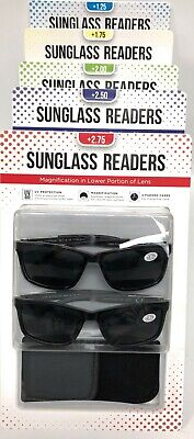 Men's Reading Sunglasses, 2-pack Sunglass Readers with Cases +1.25 - 2.75 (Sunglasses Readers For Men)