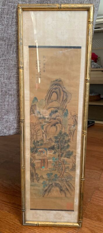 Antique Chinese Scroll Painting On Silk