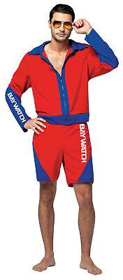 Baywatch Herren Rettungsschwimmer Erwachsenen Kostüm Rot & Blau Jacke