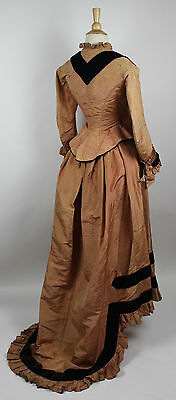 Antique Dress 19th Century Silk Two Piece Bustle Gown with Velvet Trim
