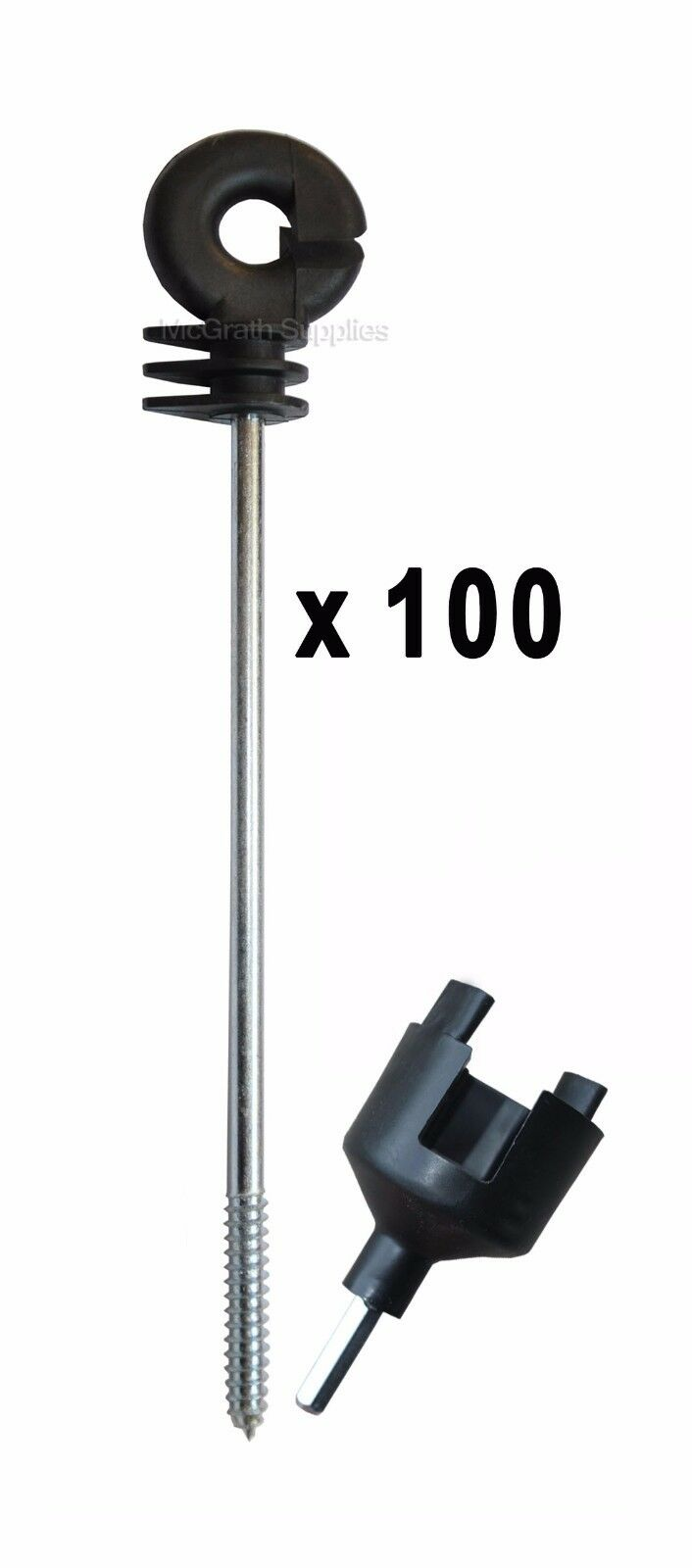 Details about 100 x Electric Fence Distance Long Insulators + Drill Tool