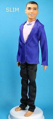Schwarz Auf Schwarzen Anzug (Barbie Blau Anzug Jacke Hergestellt auf Rosa Hemd Schwarz Hose Original Ken)