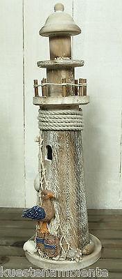 Holz Leuchtturm mit Möwe Höhe 36cm Treibholz-Look für die maritime Deko