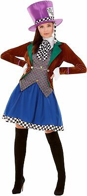 Mad Hatter Womens Costume Ladies Alice Wonderland Fancy Dress outfit Book Story](Lady Mad Hatter Costume)