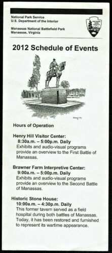 ⫸2012 MANASSAS NATIONAL BATTLEFIELD PARK SERVICE SCHEDULE EVENTS Civil War Histo