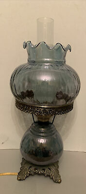 """Vtg Victorian Style Hurricane Parlor Table Lamp Blue/periwinkle Glass 19"""" Tall"""