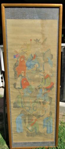 VERY FINE LARGE ANTIQUE CHINESE SIGNED PAINTING ON SILK PANEL SCROLL SIGNED