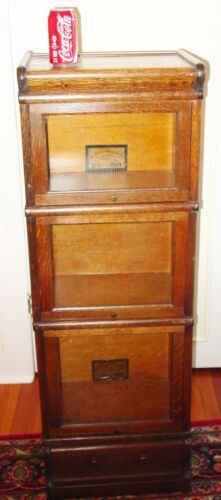 Antique Neat half size quartered oak barrister bookcase----15606
