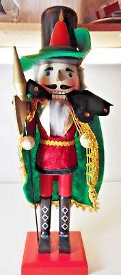 Wood Nutcracker Musketeer Christmas Felt Hat Cape Gold Axe Gray White Beard Hair (Musketeer Cape)